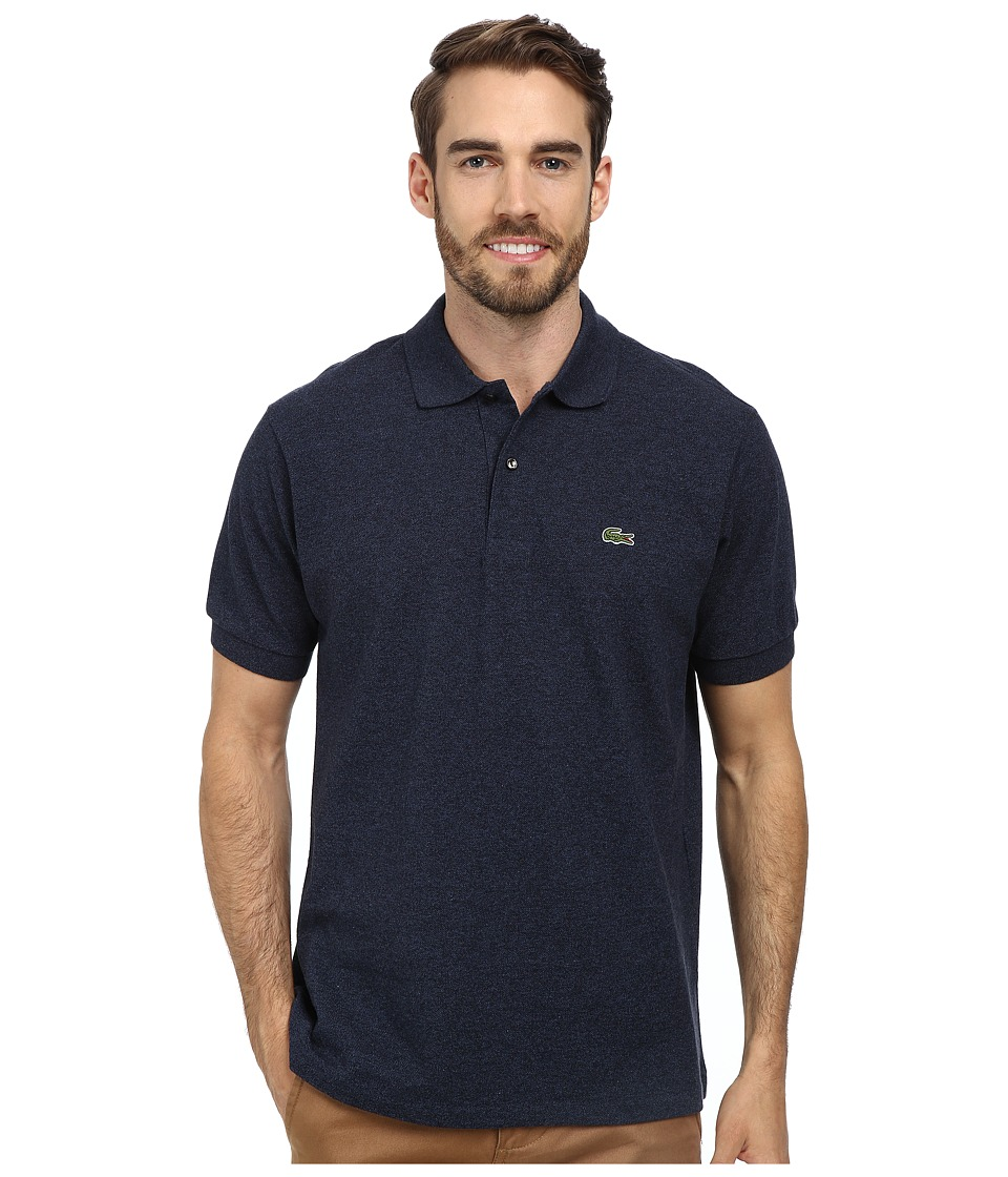 Lacoste - Short Sleeve Original Heathered Pique Polo (Dark Indigo Blue) Men's Clothing