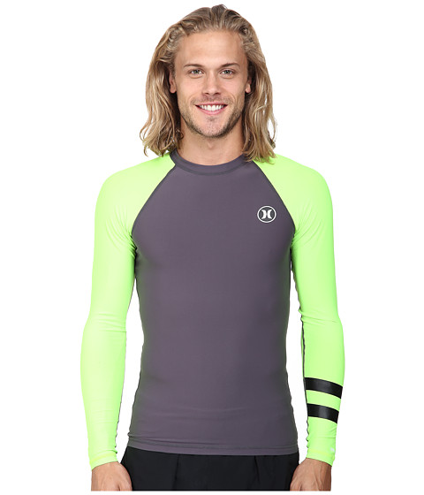 Hurley - Icon L/S Rashguard (Flash Lime) Men's Swimwear