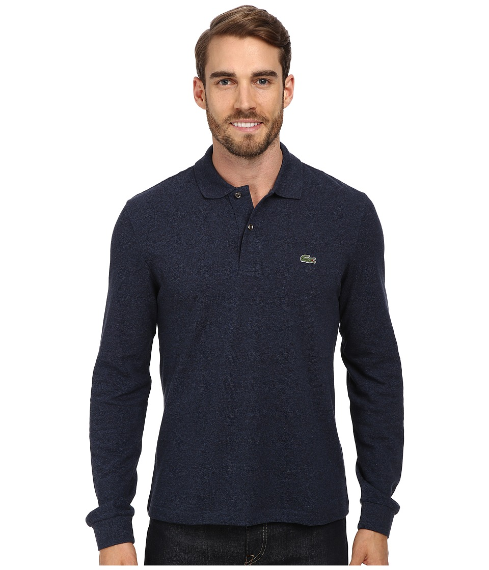 Lacoste - L/S Classic Chine Pique Polo (Dark Indigo Blue) Men's Clothing