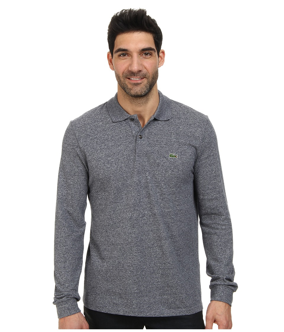 Lacoste - L/S Classic Chine Pique Polo (Navy Blue Mouline) Men's Clothing