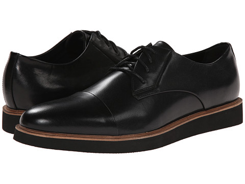 Calvin Klein - Trevor (Black Burnished Calf) Men's Lace Up Cap Toe Shoes