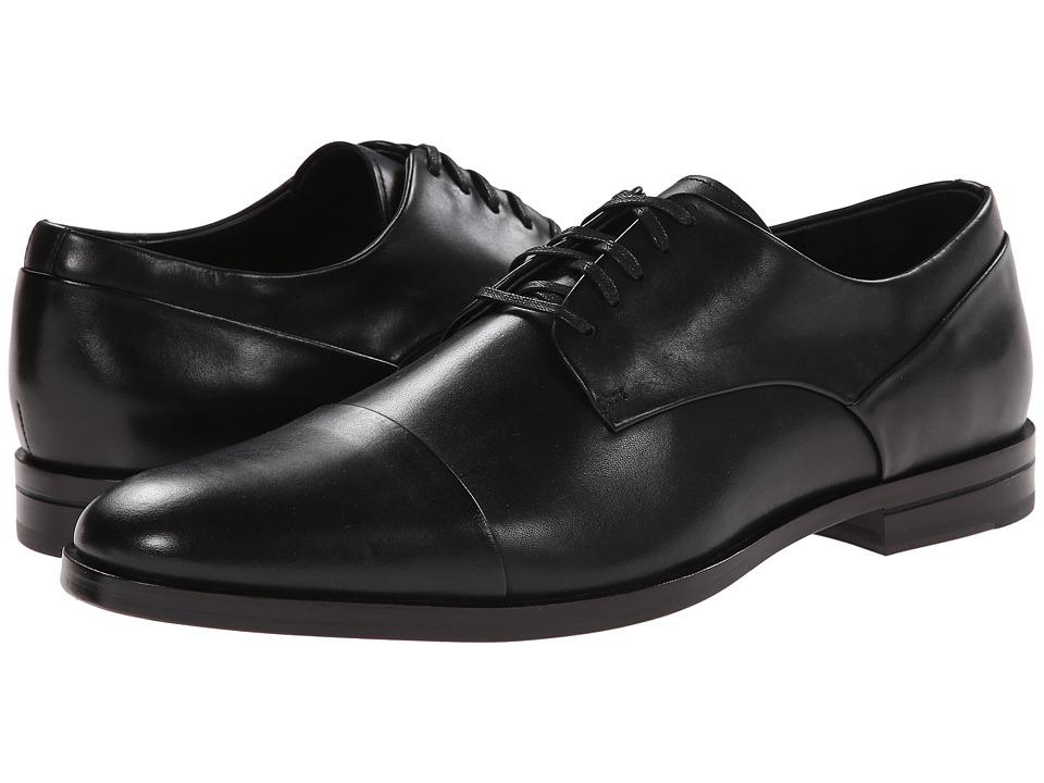 Calvin Klein - Kipp (Black Leather) Men's Lace Up Cap Toe Shoes
