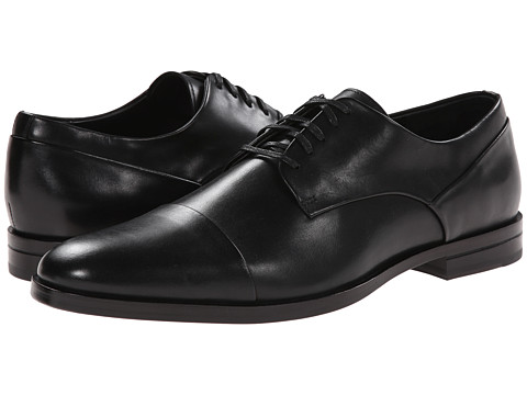 Calvin Klein - Kipp (Black Leather) Men's Lace Up Cap Toe Shoes