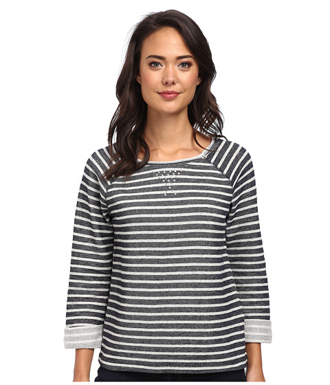 Jones New York - Stripe Scoop Neck Pullover w/ Studs (Navy/Light Grey) Women's Clothing