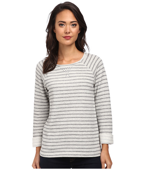 Jones New York - Stripe Scoop Neck Pullover w/ Studs (Light Grey Heather) Women's Clothing