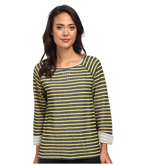 Jones New York - Stripe Scoop Neck Pullover w/ Studs (Navy/Chartreuse) Women's Clothing