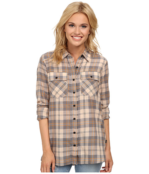 Volcom - Don't Mess Shirt (Maple) Women's Long Sleeve Button Up