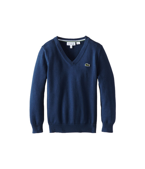 Lacoste Kids - Long Sleeve Cotton V-Neck Sweater (Toddler/Little Kids/Big Kids) (Philippines Blue/Philippines Blue/White/Green) Boy's Sweater