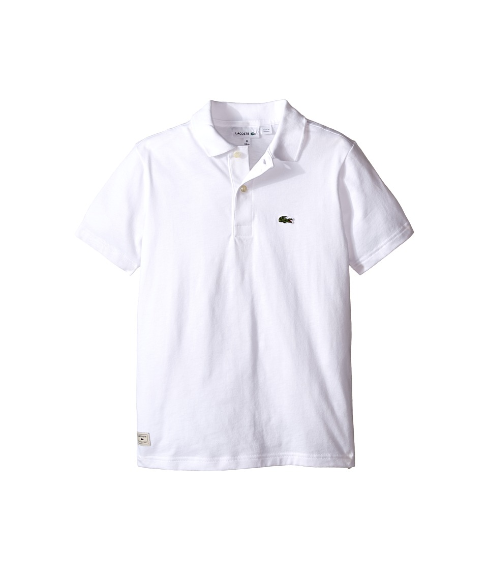 Lacoste Kids - S/S Solid Jersey Polo (Toddler/Little Kids/Big Kids) (White) Boy's Short Sleeve Knit