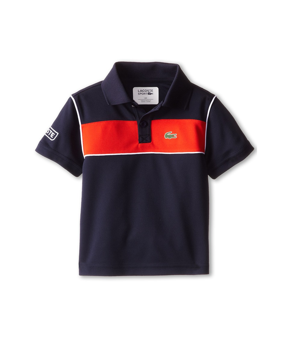 Lacoste Kids - S/S Bold Chest Stripe Ultra Dry Polo (Toddler/Little Kids/Big Kids) (Navy Blue/Etna Red/White) Boy's Short Sleeve Pullover