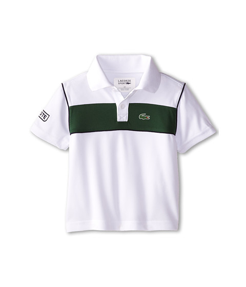 Lacoste Kids - S/S Bold Chest Stripe Ultra Dry Polo (Toddler/Little Kids/Big Kids) (White/Green/Navy Blue) Boy