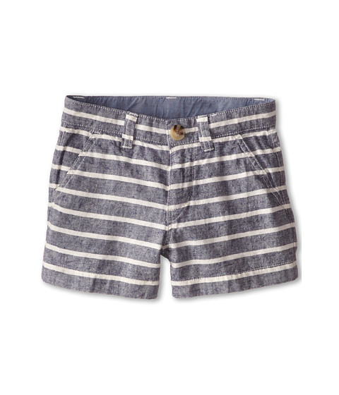 Lacoste Kids - Striped Gabardine Bermuda Short (Little Kids/Big Kids) (Fuji Used/White) Boy