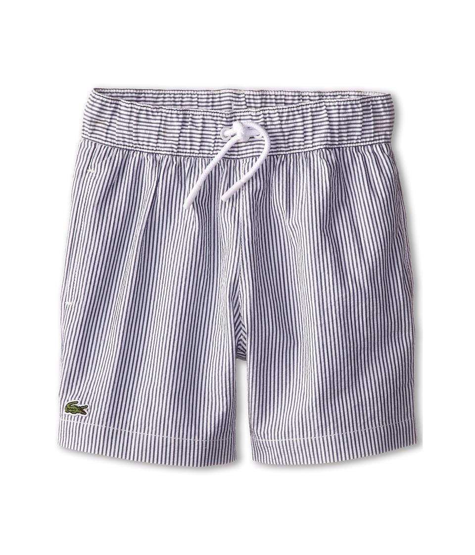 Lacoste Kids - Striped Seersucker Swim Trunk (Little Kids/Big Kids) (Philippines Blue/White) Boy's Swimwear
