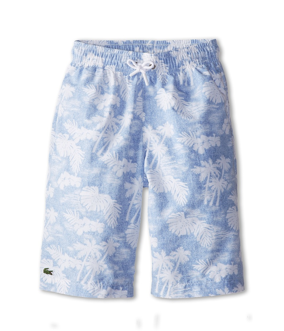 Lacoste Kids - Palm Tree Printed Swim Trunk (Little Kids/Big Kids) (Fuji/White) Boy's Swimwear