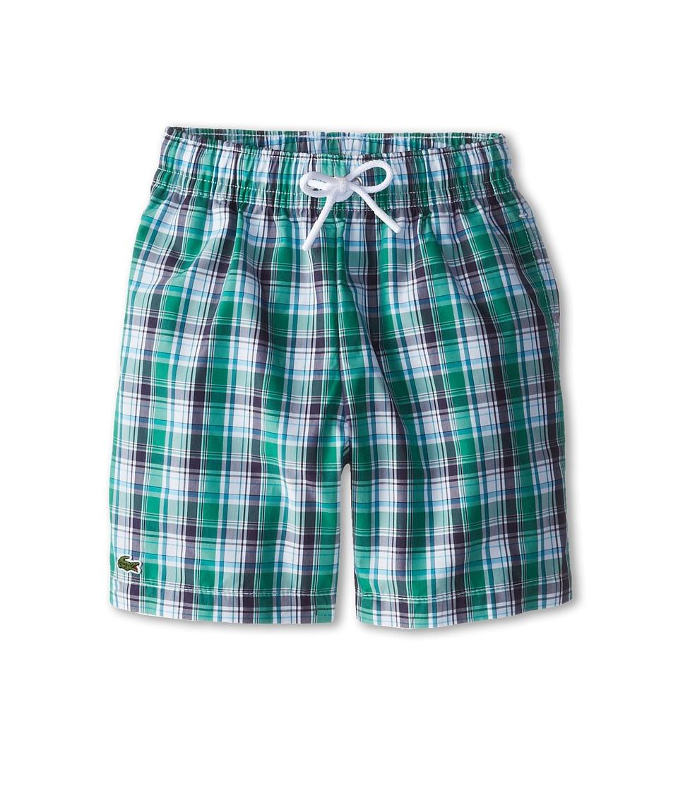 Lacoste Kids - Checked Swim Trunk (Little Kids/Big Kids) (Navy) Boy's Swimwear