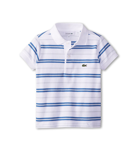 Lacoste Kids - S/S Fine Stripe Pique Polo (Toddler/Little Kids/Big Kids) (White/Wave Blue/Origami Blue) Boy's Short Sleeve Pullover