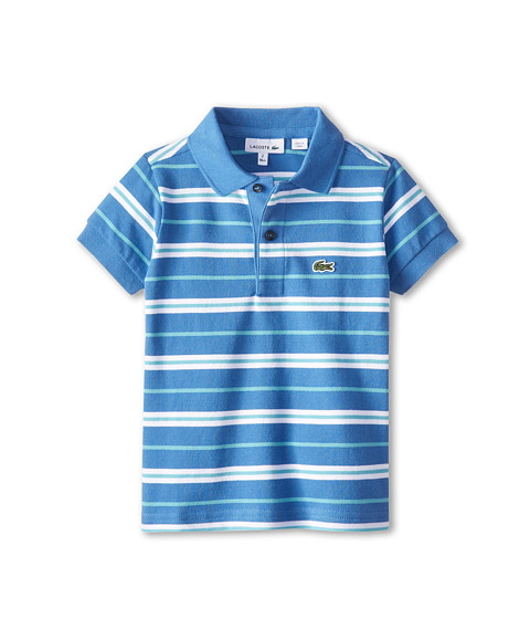 Lacoste Kids - S/S Fine Stripe Pique Polo (Toddler/Little Kids/Big Kids) (Wave Blue/White/Corsica Aqua) Boy's Short Sleeve Pullover