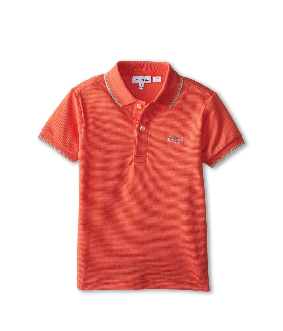 Lacoste Kids - S/S Pique Polo w/ Contrast Tipping (Toddler/Little Kids/Big Kids) (Mambo/Grey Chine) Boy's Short Sleeve Pullover