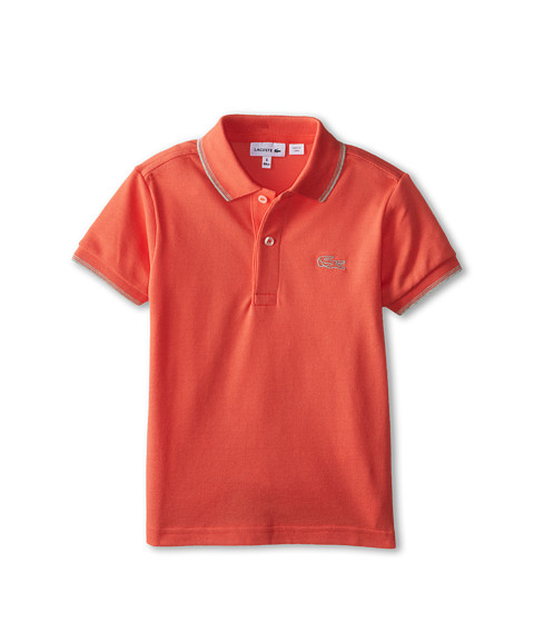 Lacoste Kids - S/S Pique Polo w/ Contrast Tipping (Toddler/Little Kids/Big Kids) (Mambo/Grey Chine) Boy