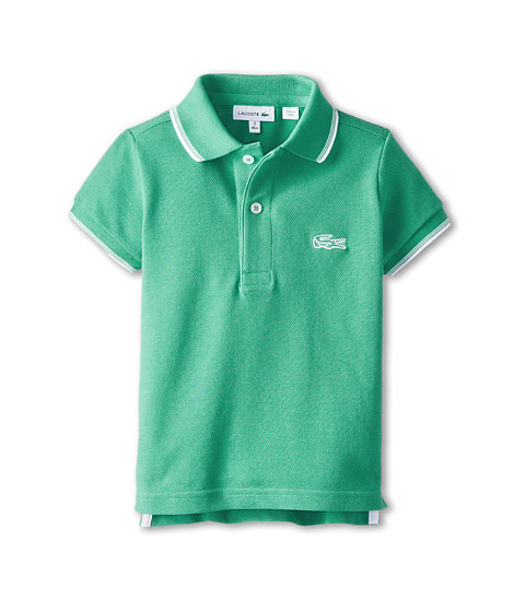 Lacoste Kids - S/S Pique Polo w/ Contrast Tipping (Toddler/Little Kids/Big Kids) (Dragon/White) Boy