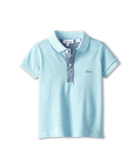 Lacoste Kids - S/S Pique Indigo Dyed Polo (Toddler/Little Kids/Big Kids) (Corsica Aqua Jaspe/Corsica Aqua/White) Boy