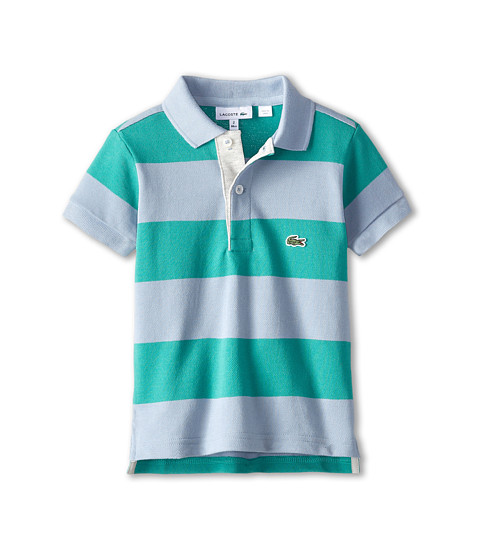 Lacoste Kids - Bold Stripe Polo w/ Contrast Placket (Toddler/Little Kids/Big Kids) (Fuji/Dragon/Grey Chine) Girl's Short Sleeve Pullover