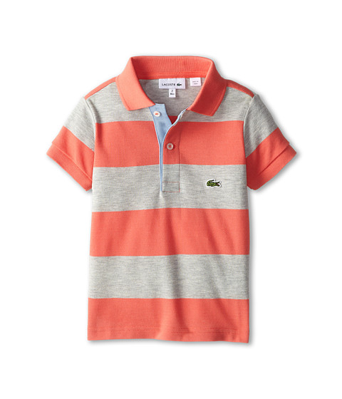 Lacoste Kids - Bold Stripe Polo w/ Contrast Placket (Toddler/Little Kids/Big Kids) (Mambo/Paladium Chine/Fuji) Girl's Short Sleeve Pullover