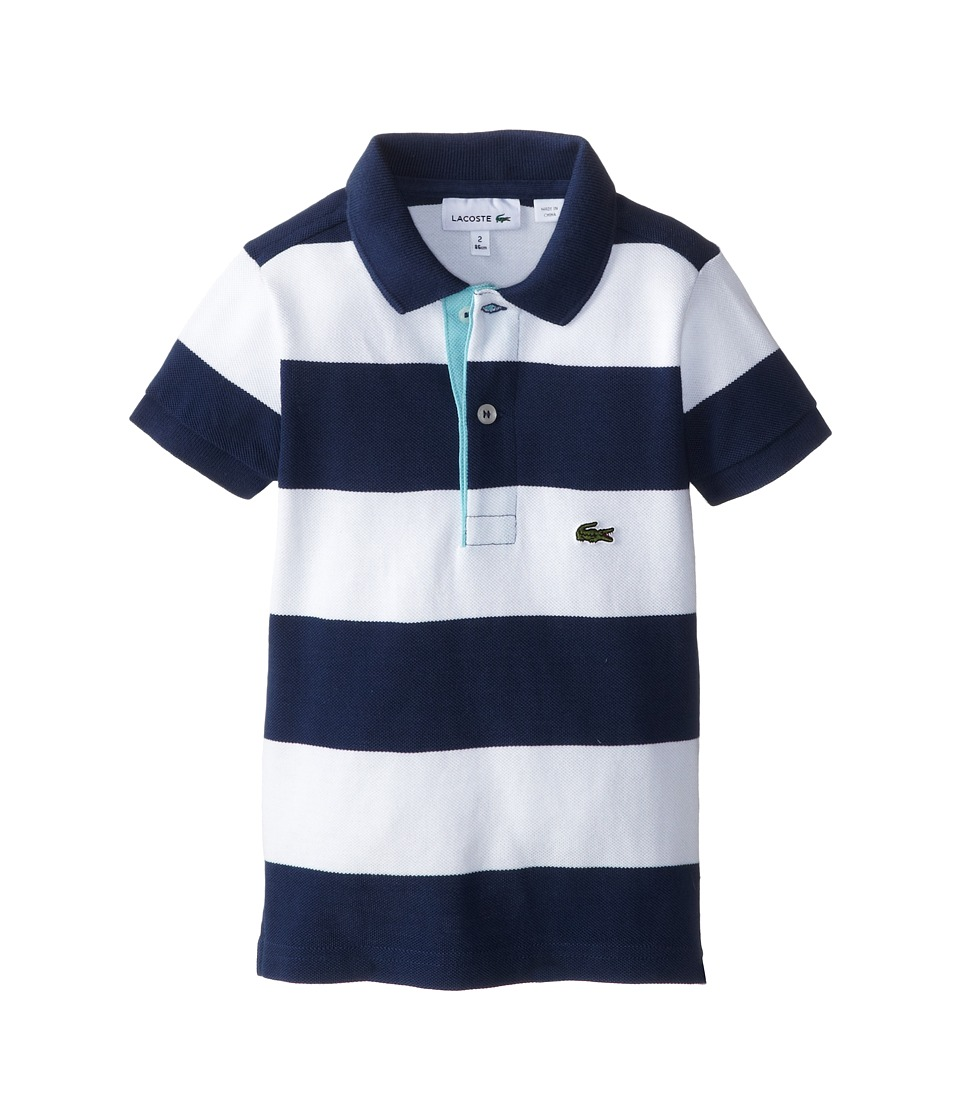 Lacoste Kids - Bold Stripe Polo w/ Contrast Placket (Toddler/Little Kids/Big Kids) (Philippines Blue/White/Corsica Aqua) Girl's Short Sleeve Pullover
