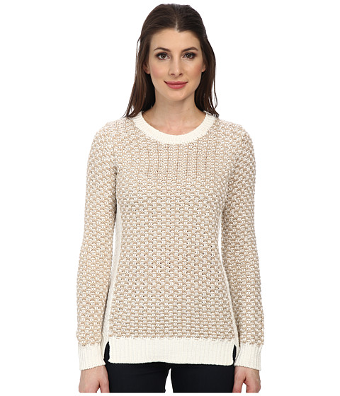 Calvin Klein - Basket Weave Cowl Sweater (Beige/White) Women's Sweater