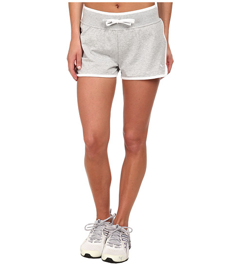 PUMA - Sweat Short (Light Gray Heather/White) Women's Shorts
