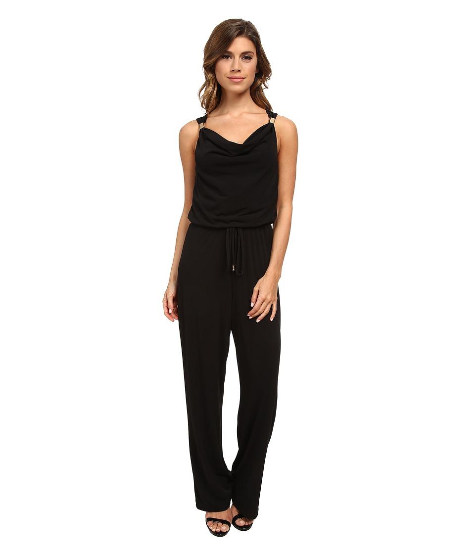 Calvin Klein - Cowl Jumpsuit w/ Hardware (Black) Women's Jumpsuit & Rompers One Piece