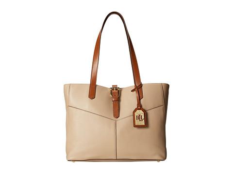 LAUREN by Ralph Lauren - Landrey Simple Tote (Stone/Bourbon) Tote Handbags
