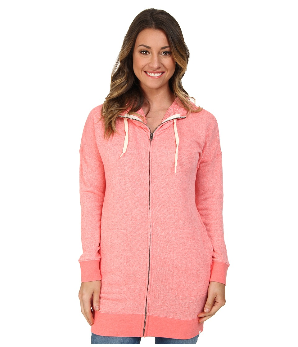 Volcom - Lived In Long Zip Hoodie (Electric Coral) Women's Sweatshirt