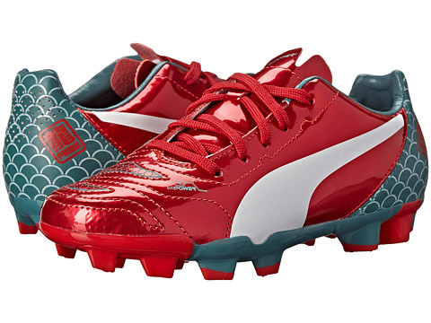 Puma Kids - evoPower 4.2 Graphic FG Jr. (Little Kid/Big Kid) (High Risk Red/White/Sea Pine) Kids Shoes