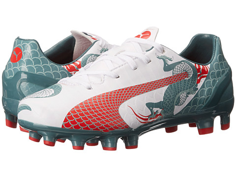 Puma Kids - evoSpeed 4.3 Graphic FG Jr. (Little Kid/Big Kid) (White/Sea Pine/High Risk Red) Kids Shoes
