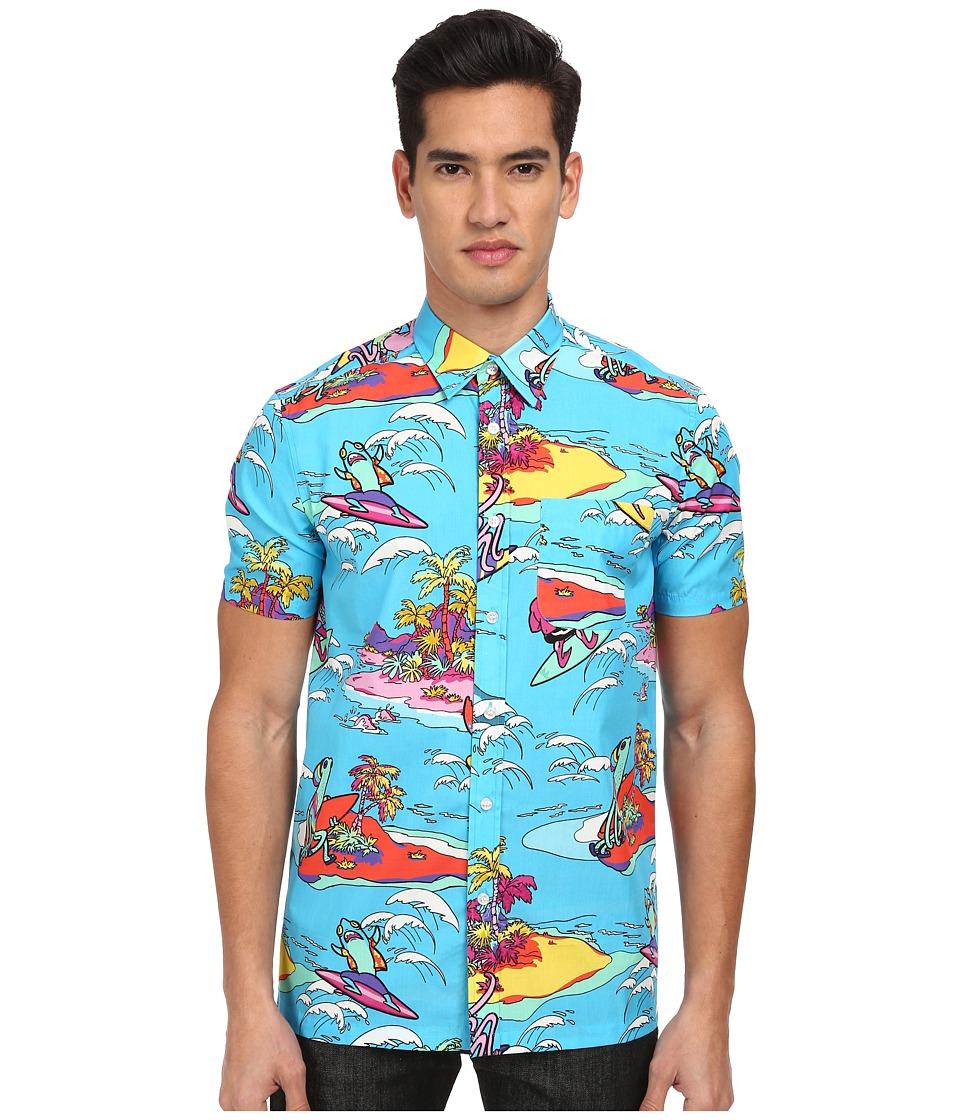 LOVE Moschino - Alien Surfer Print Short Sleeve Button-Up Shirt (Blue Multi) Men