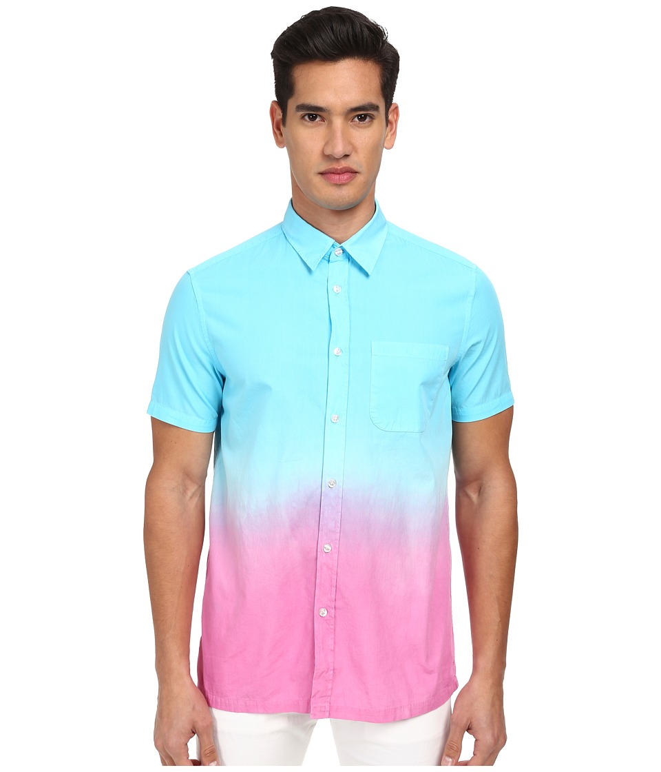 LOVE Moschino - Ombre Short Sleeve Button-Up Shirt (Blue/Yellow) Men's Short Sleeve Button Up