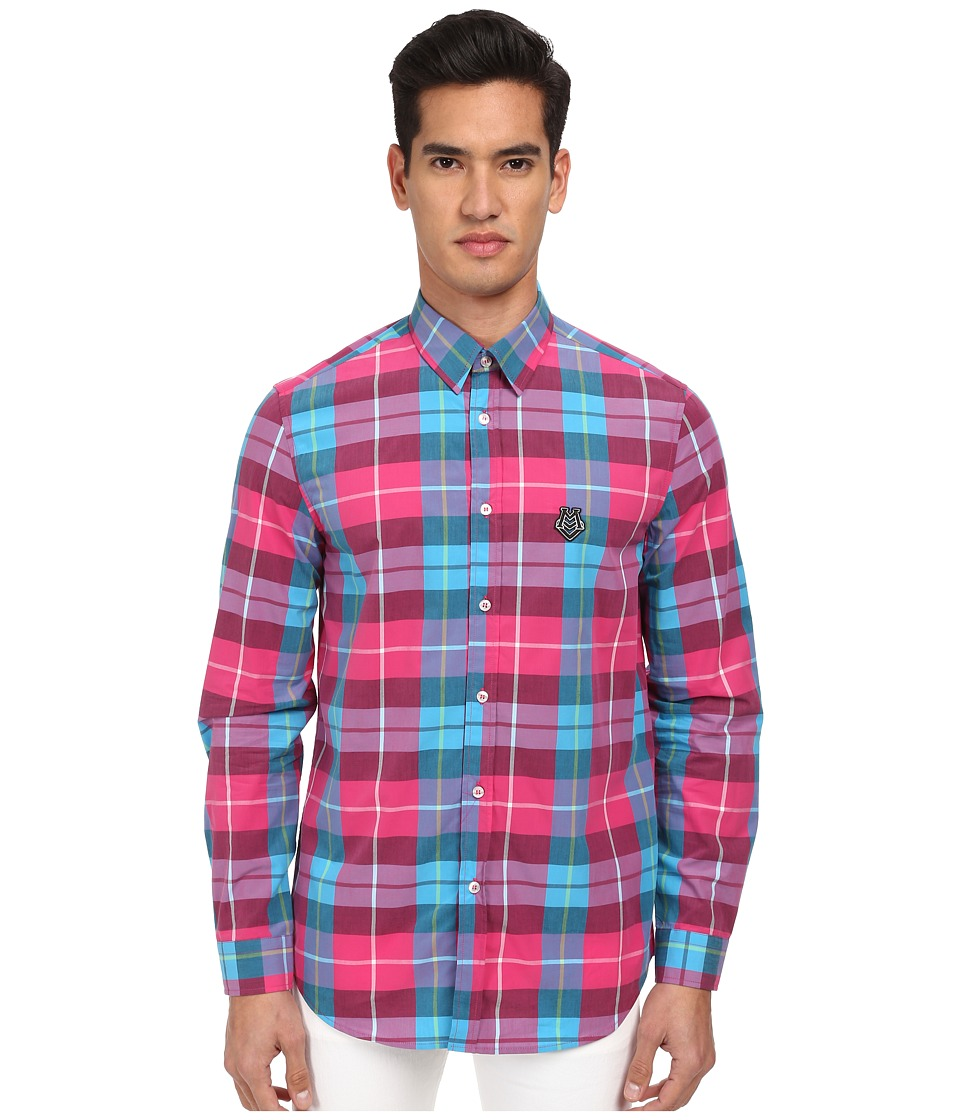 LOVE Moschino - Plaid Long Sleeve Button-Up Shirt (Blue/Pink) Men's Long Sleeve Button Up