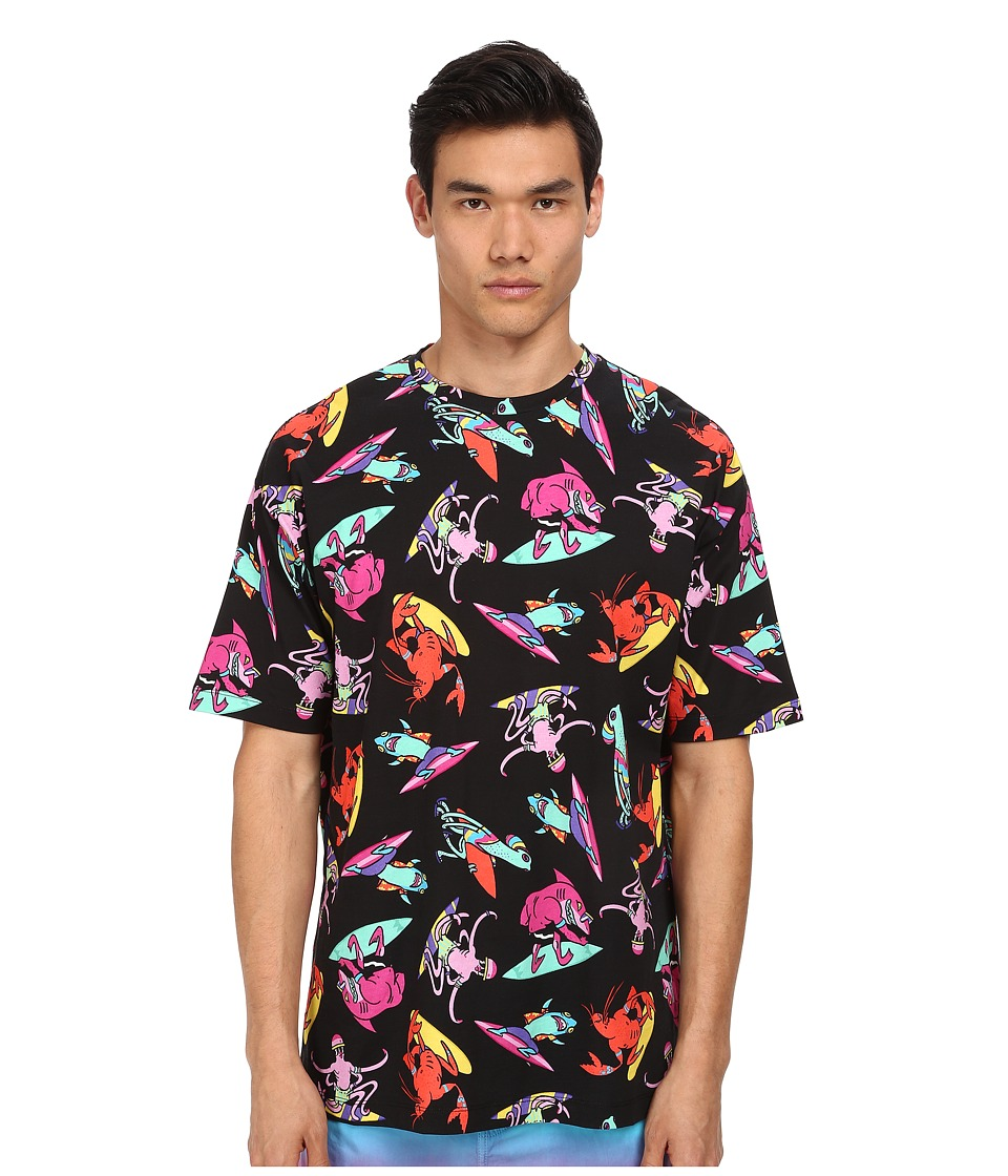 LOVE Moschino - Alien Surfer Print Over Fit Tee (Black Multi) Men's Short Sleeve Pullover