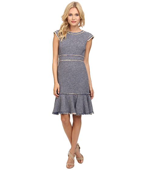 Rebecca Taylor - Short Sleeve Sparkle Stretch Dress (Blue) Women's Dress
