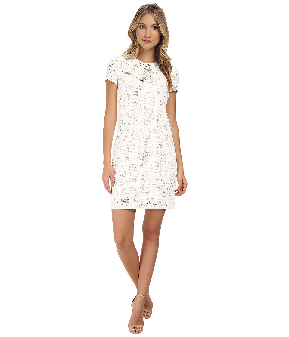 Rebecca Taylor - Short Sleeve Die Cut Dress (White) Women's Dress