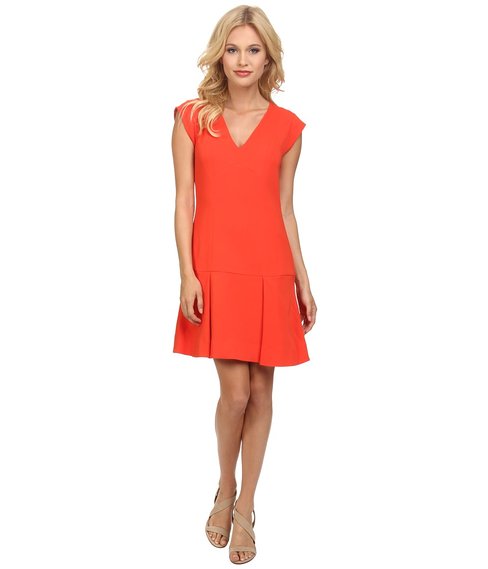 Rebecca Taylor - Sleeveless V-Neck Refined Suiting Dress (Tigerlily) Women's Dress
