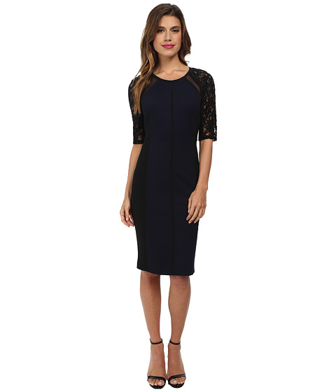 Rebecca Taylor - Short Sleeve Ponte Pace Dress (Navy) Women's Dress