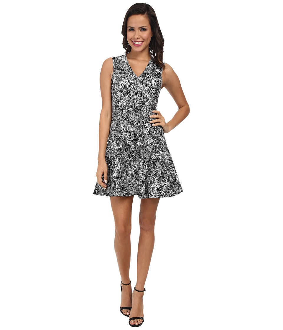 Rebecca Taylor - Sleeveless V-Neck Animal Jacquard Dress (Black) Women's Dress