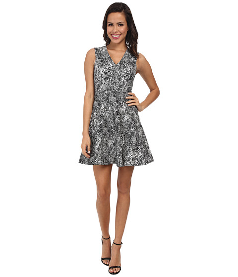Rebecca Taylor - Sleeveless V-Neck Animal Jacquard Dress (Black) Women's Dress