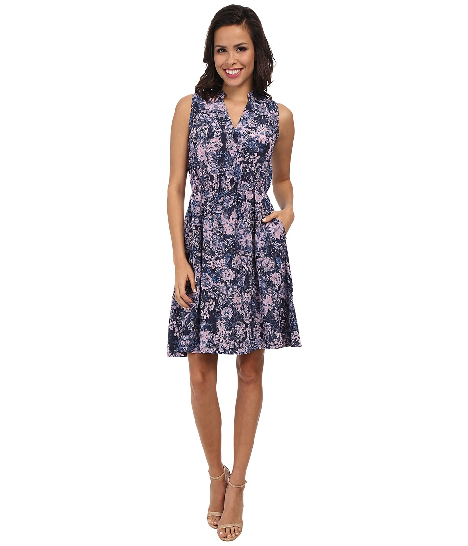 Rebecca Taylor - Sleeveless Kiku Print Dress (Navy) Women's Dress