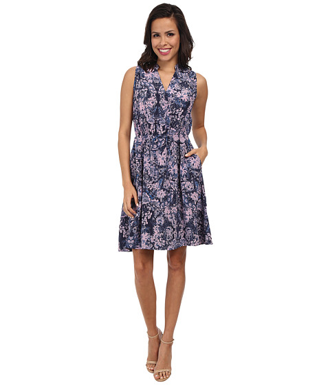 Rebecca Taylor - Sleeveless Kiku Print Dress (Navy) Women