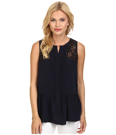 Rebecca Taylor - Sleeveless Silk Lace Top (Navy) Women