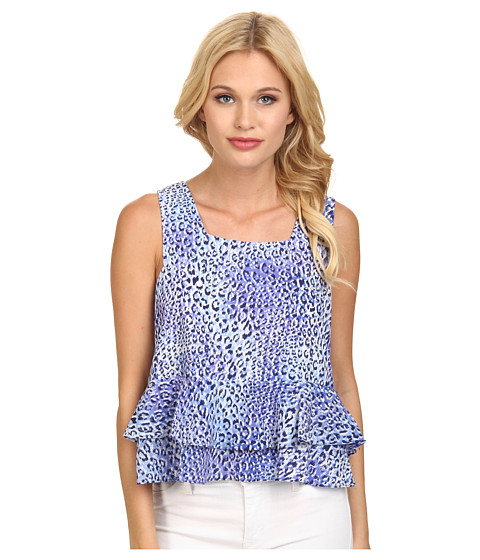 Rebecca Taylor - Sleeveless Leo Fever Ruffle Crop Top (Blue Crush) Women's Sleeveless