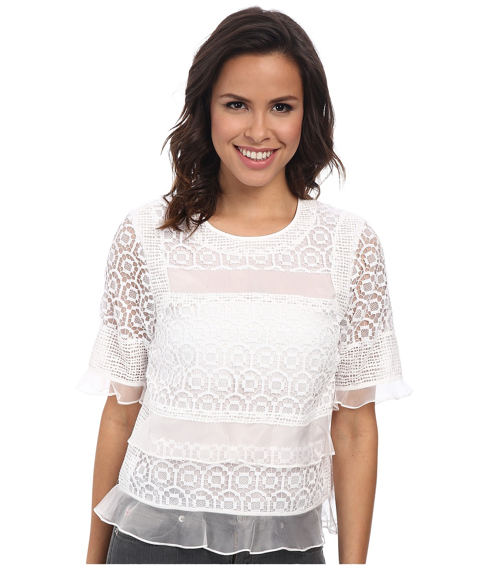 Rebecca Taylor - Short Sleeve Tile Lace Ruffle Top (Sea Salt) Women's Short Sleeve Pullover